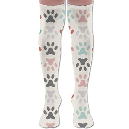 8d569963063 Paw Prints Pattern Polyester Cotton Over Knee Leg High Socks Retro Unisex  Thigh Stockings Cosplay Boot