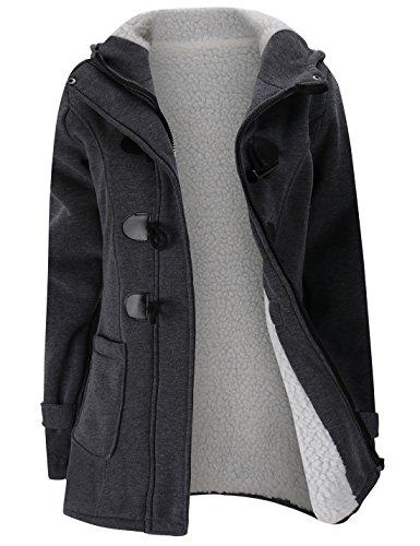 Gihuo Women's Casual Fleece-Lined Winter Warm Coat Hooded Jacket (Medium, Dark Grey)