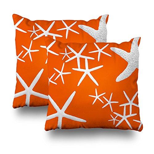 Kutita Decorativepillows Covers 18 x 18 inch Throw Pillow Covers,Persimmon Orange Starfish Pattern Double-Sided Decorative Home Decor Pillowcase Garden Sofa Bedroom Car Nice Gift from Kutita