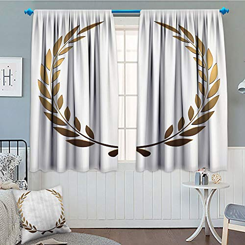 GLANDU Gold, Thermal/Room Darkening Window Curtains, Ancient Circular Laurel Wreath with Interlocking Branches and Evergreen Leaves Design, Decor Curtains by, 72x63 Inch Gold White