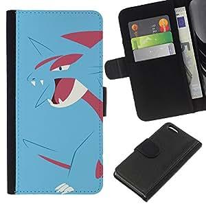 KLONGSHOP // Tirón de la caja Cartera de cuero con ranuras para tarjetas - Azul de Poke Monster Dragón - Apple Iphone 5C //