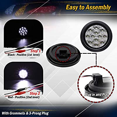 Meerkatt (Pack of 2) 4 Inch Round White LED Sealed Clearance Lamp Indicator Back-up Reverse Marker Light Kit Include Black Resin w/Plug Truck Trailer RV Tow Caravan Camper Bus Van Pickup 12v DC GA12: Automotive