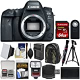 Canon EOS 6D Mark II Wi-Fi Digital SLR Camera Body with 64GB Card + Backpack + Flash + Battery & Charger + Tripod + Remote Kit