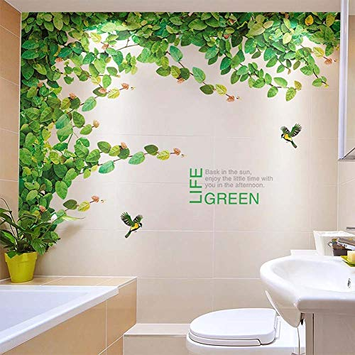 iwallsticker Ivy Wall Sticker Tree for Bedroom Living Room Branch Vine and Flying Birds Wallpaper 2pcs/set Removable Plant Wall Decals Extra Large Home Murals ()