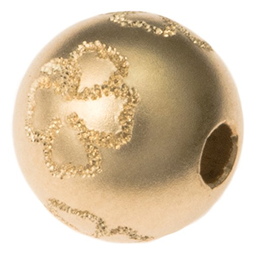 Dreambell 14K Gold Filled 8mm Round 4 Leaf Lucky Clover Sandblast Stardust Bead Spacer Ball