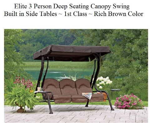 Elegant Elite Outdoor 3 Triple Seater Person Swing Glider Canopy Patio Deck W/  Built In Side