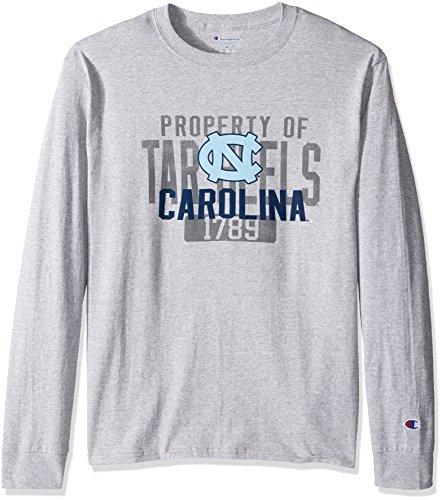 - Champion NCAA Men's Long Sleeve Lightweight T-shirt Officially Licensed 100% Cotton Tagless Tee North Carolina Tar Heels Small