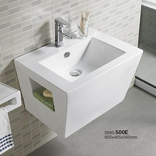 Bathroom 24'' Wall Mount Bathroom White Porcelain Ceramic Vessel Sink combo 500E by ELIMAX'S