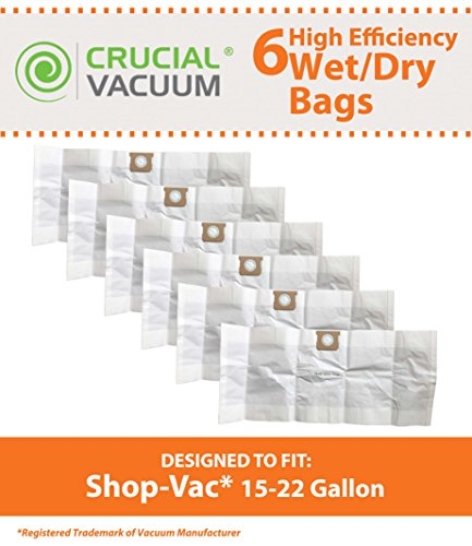 Think Crucial 6 Replacements for Shop-Vac Type G Bags Fit 15-22 Gallon Wet & Dry Vacs, Compatible With Part # 90663 & 90663-00 by Think Crucial