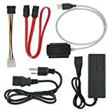 TechIntheBox SATA/PATA/IDE Drive to USB 2.0 Adapter Converter Cable for 2.5/3.5 Inch Hard Drive/5 inch Optical Drive with External AC Power Adapter