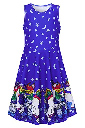 Girls Unicorn Dresses Size 10-12 Twirling Dresses 3D Printing Unicorn Outfit Adorable Blue Moon Stars Tank Cute Costume for Kids Toddler Sleeveless Horse Pattern Shirt Casual School Check Skater Dress