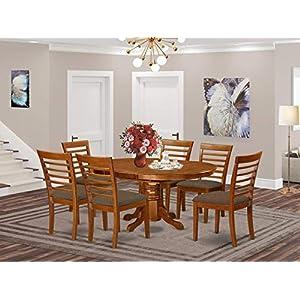 East West Furniture AVML7-SBR-C Dining Room Set, Microfiber Upholstered Seat, Saddle Brown Finish