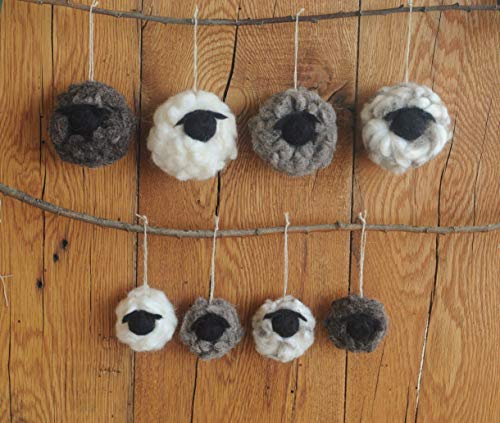 Felted Wool Sheep Ornaments, Set of 4