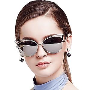 Women Sunglasses, Vintage Cateye Sunglasses for Women Polarized Mirror Designer by BLUEKIKI YEUX (Silver)