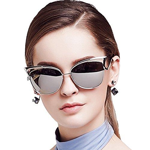 Women Sunglasses, Vintage Cateye Sunglasses for Women Polarized Mirror Designer by BLUEKIKI YEUX - Try On Eyeglasses Designer