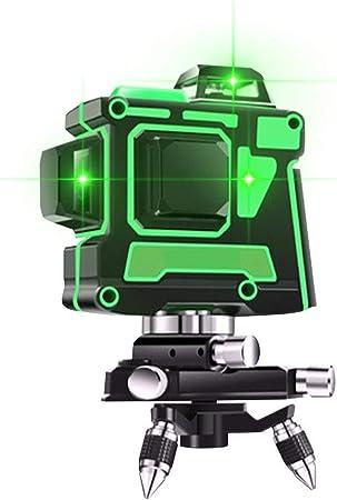 Ligne laser 3D de niveau 12 Niveau laser vert /à mise /à niveau automatique avec tr/épied niveau laser rotatif /à 360 degr/és Ligne horizontale commutable