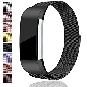 For Fitbit Charge 2 Bands, Maledan Stainless Steel Milanese Loop Metal Replacement Accessories Bracelet Strap with Unique Magnet Lock for Fitbit Charge 2 HR Black Small
