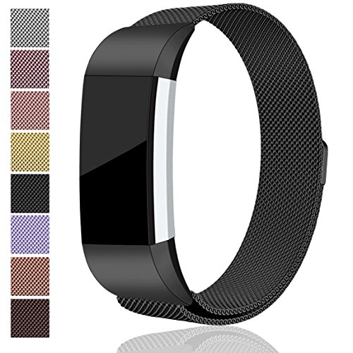 Maledan for Fitbit Charge 2 Bands, Stainless Steel Milanese Loop Metal Replacement Accessories Bracelet Strap with Unique Magnet Lock for Fitbit Charge 2 HR Black Large