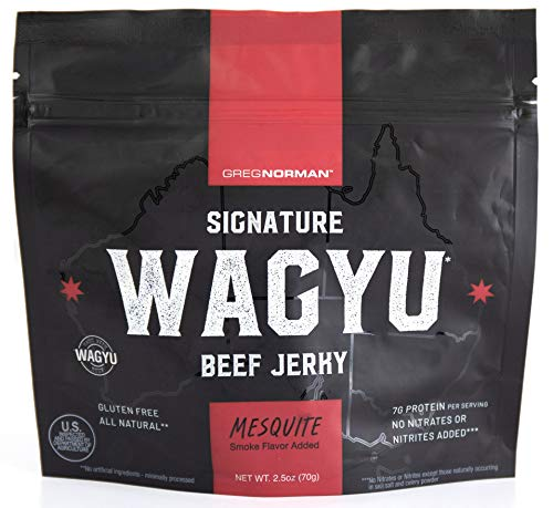 Greg Norman Signature Wagyu Beef Jerky | Mesquite 2.5oz | Keto + Paleo Friendly, Gluten Free Snack Made with All Natural 100% Australian Wagyu Beef, No Nitrates/Nitrites Added