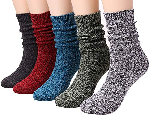 (Galsang 5 Pack Ladies Womens Warm Cotton Cable Knit Crew Boot Socks,Size 5-10 A202 (solid)
