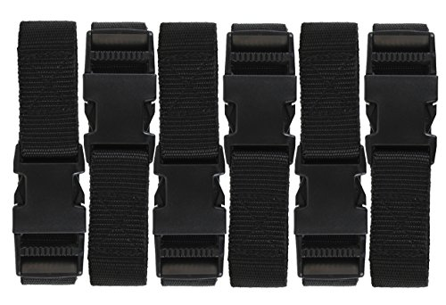 (Harrier 72-inch Utility Strap with Quick-Release Buckle, Black, 6-Pack)