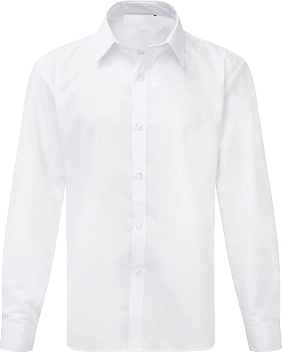 """Pack of Two Long Sleeve Boys School Shirts White Sizes 11.5/"""" to 14.5/"""" Collar"""