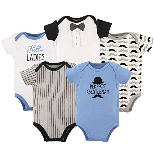 Hudson Baby Baby Infant Cotton Bodysuits, Perfect Gentleman 5 Pack, 3-6 Months