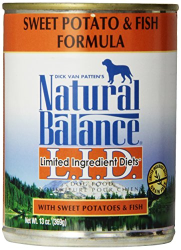 Natural Balance L.I.D. Limited Ingredient Diets Canned Wet Dog Food, Grain Free, Fish and Sweet Potato Formula, 13-Ounce (Pack of 12)
