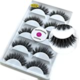 5 Pairs/Box 3D Mink False Eyelashes LASGOOS Luxurious Cross Thick Long Fake Eye Lashes Eye Makeup