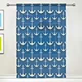 WOZO Blue With White Nautical Anchor Window Sheer Curtain Panels 55″x 84″, 1-Piece Summer Ocean Sea Modern Window Treatment Panel for Children Kids Home Living Dining Room Playroom Decoration Review
