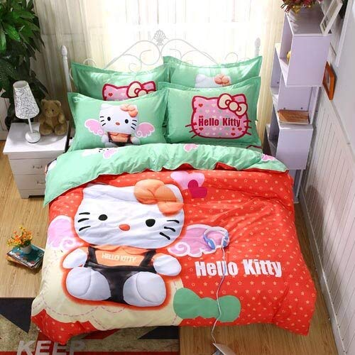 Olwen Shop 3D and Cartoon Duvet Cover Set 100% Polyester Cartoon Children Students Lovely Hello Kitty Bedding Sets Twin Full Queen Size Bedsheet Sets