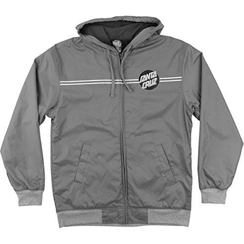 Santa Cruz Mens Dot Hooded Windbreaker Jacket X-Large Charcoal