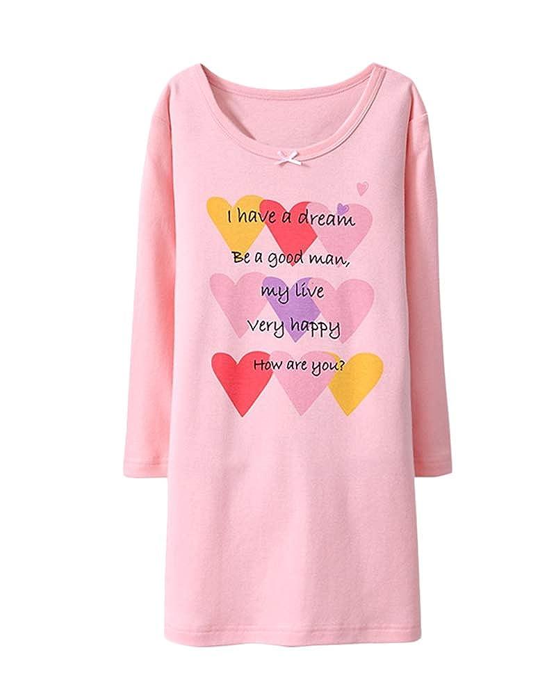 DianShaoA Ragazze Camicia da Notte A Maniche Lunga per Bambini Bello Stampata Cigno Pigiama Vestaglie