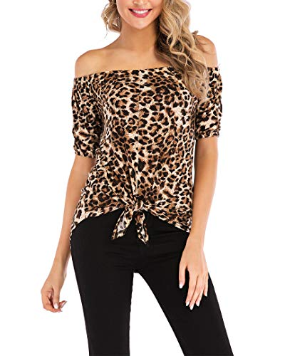 (Qearal Leopard Off The Shoulder Tops Short Sleeve Tshirts Knot Shirts(Leopard, S))