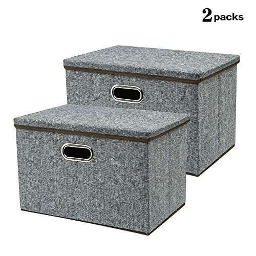 Zonyon Large Storage Box - 17.7'' Sturdy Collapsible Fabric Storage Bin Container Bakset Home Cube Organizer with Removable Lid for Bedroom - Closet - Shelves - Office - Grey - 2 Packs
