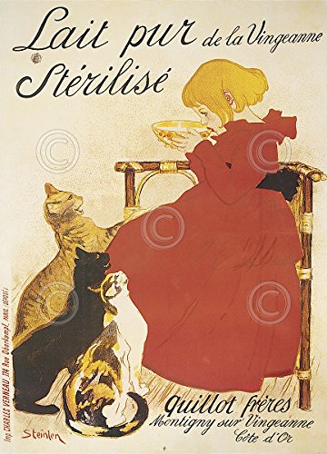 (Lait Sterilise by Theophile Alexandre Steinlen Vintage Cat Poster (Choose Size of Print) )