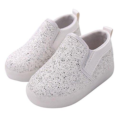 hibote Kleinkind Mädchen leichte Schuhe Paillette Helle Prinzessin Loafers Weiß
