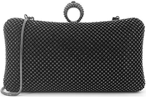 Dexmay Ring Rhinestone Crystal Clutch Purse for Bridal Wedding Party Luxury Women Evening Bag Pewter by DEXMAY DM