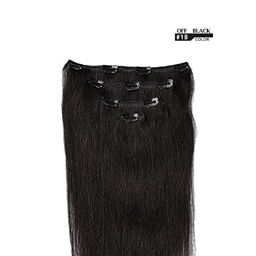 18'' Clip in Hair Extensions Remy Human Hair for Women - Silky Straight Human Hair Clip in Extensions 60grams 4pieces Off Black #1B Color by Winsky (Image #1)