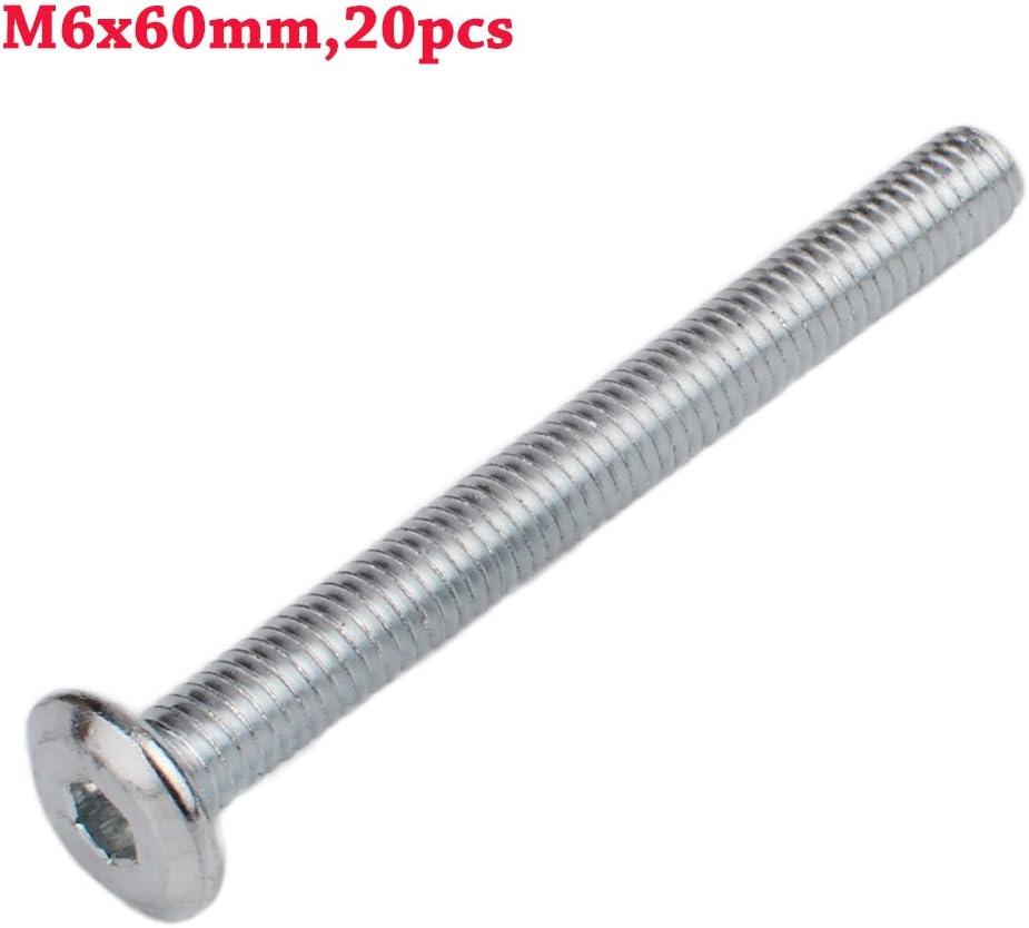 Do4U M6x60mm Stainless Steel Flat Hex Socket Head Hexagon Furniture Bolts Connector Fastener M6x60mm,20pcs, Silver