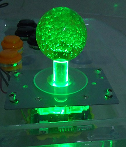 Lighted Ball Top - GREEN lighted Illuminated joystick with yellow crystal bobble top ball