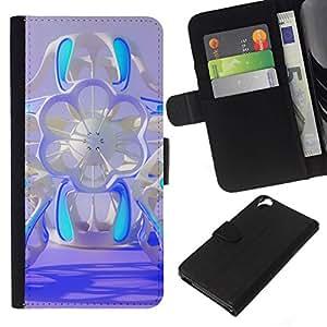 All Phone Most Case / Oferta Especial Cáscara Funda de cuero Monedero Cubierta de proteccion Caso / Wallet Case for HTC Desire 820 // floral azul ciencia ficción diseño púrpura abstracta