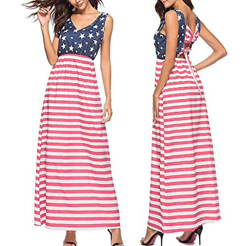 RIUDA Women's Spaghetti Strap Flag Sexy Sleeveless Backless Striped Dress Red ()