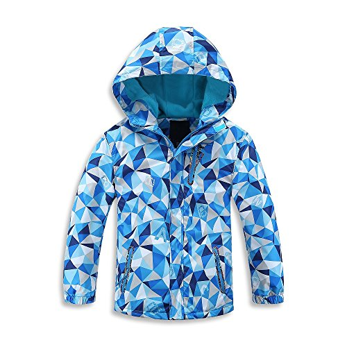 Girls Light Blue Jacket - Mobycare Girls Boys Hooded Fleece Lined Active Jackets Waterproof Light Windbreaker(Blue-M)
