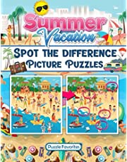Summer Vacation Spot the Difference Book: Features fun beach, camping, pool, and summer pictures to search and find!