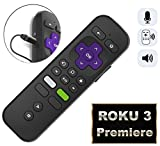 Replacement Enhanced Voice Remote Headphone Jack Voice Control Roku 3/ Roku 4/Roku Premiere/Ultra, Compatible 2015 Newer Model Roku Stick [No TV Power Button]