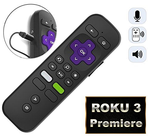 Replacement Enhanced Voice Remote Headphone Jack Voice Control Roku 3/ Roku 4/Roku Premiere/Ultra, Compatible 2015 Newer Model Roku Stick [No TV Power Button] by IKU