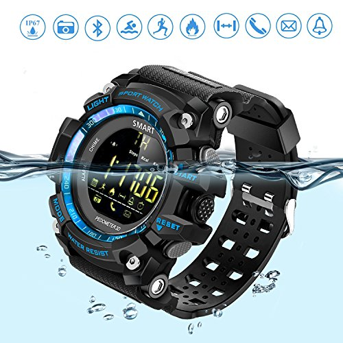 Smart Watch Sports Bluetooth Watch Pedometer Fitness Tracker Wearable Technology IP67 Waterproof Remote Camera Running Equipment for Android and IOS Smartphones Best Choice for Men and Boys Blue