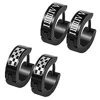 Hip Hop Style Stainless Steel Black Plated Huggie Hoop Earrings Women Man Ear Cartilage Piercing