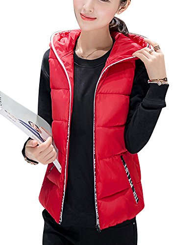 Womens Warm Hooded Full Zipper Tops Sleeveless Down Jacket Coat Vest Outwear With Pocket Red
